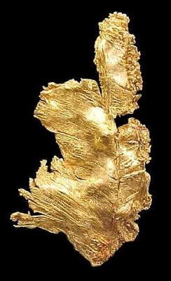 Amostra de ouro metálico brilhante bem cristalizado, Web Mineral.